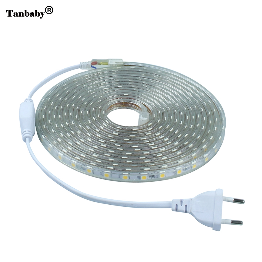 LED Strip IP67 Waterproof SMD 5050 AC220V strip dipimpin cahaya fleksibel EU Power Plug 60 leds / m 1M 2M 3M 5M 10M 15M Indoor Terbuka