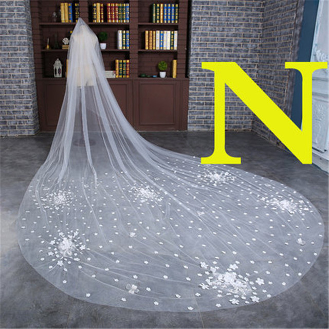 N Style 3 Meter Cathedral Long Wedding Veils with comb Long Flowers Edge Bridal Veil Wedding Accessories Bride Wedding Veil