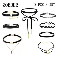 ZOEBER 8 PCS Set New Gothic Tattoo Leather Choker Necklaces set Black leather necklace lot collar boho rope chain Hollow jewelry