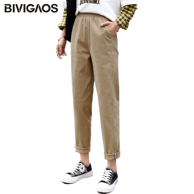 BIVIGAOS New Bottom Hemming Color Ribbon Cargo Pants Women Overalls Trousers Cotton High Waist Loose Straight Casual Harem Pants