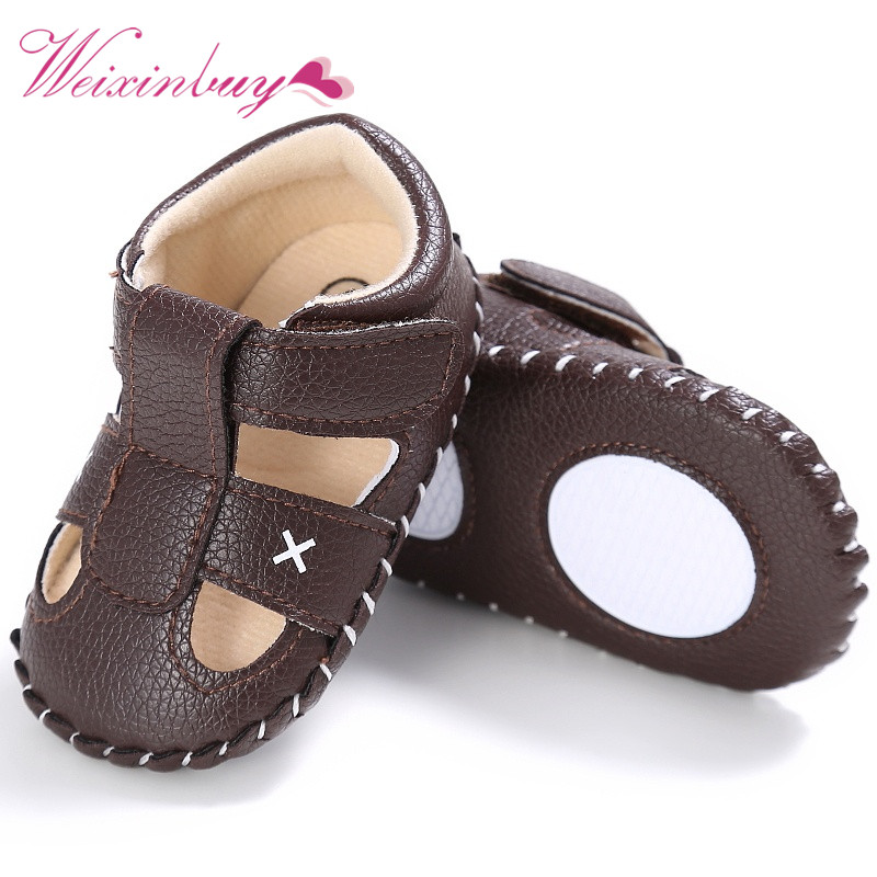 2017 Summer Shoes Boys Soft Leather Sandals Baby Boys Summer Prewalker Soft Sole Genuine Leather Beach Sandals