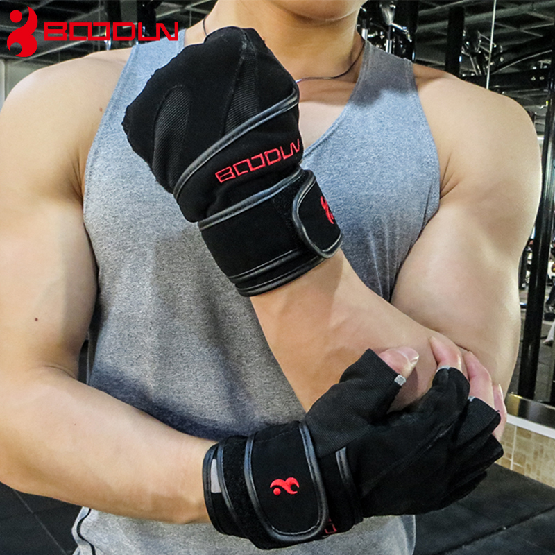 Boodun Sports Fitness Weight Lifting Gloves Black Genuine Leather Wrist Gloves Gym Men Women Breathable Training Quality And Quantity Assured