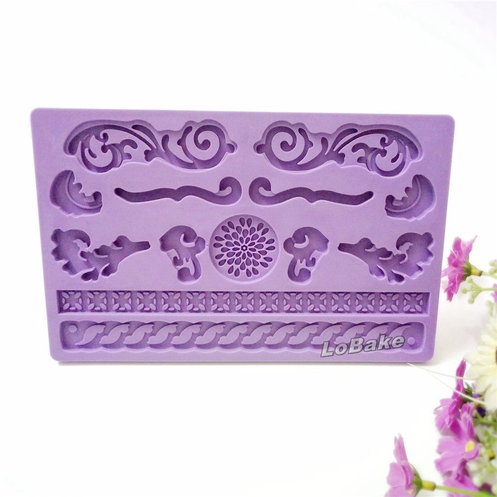 Us 954 13 Offmerek Baru Berbagai Elegan Bunga Bentuk Silikon Kue Lace Dekorasi Perbatasan Menekan Cetakan Fondant Resep Dan Menyenangkan Dekorasi