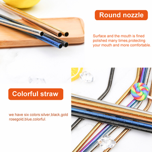 Image 3 - 100 Pcs Patterned Wholesale Metal Straw Colorful Reusable Stainless Steel Straw E co Friendly Portable Drinking Tubes For 20/30