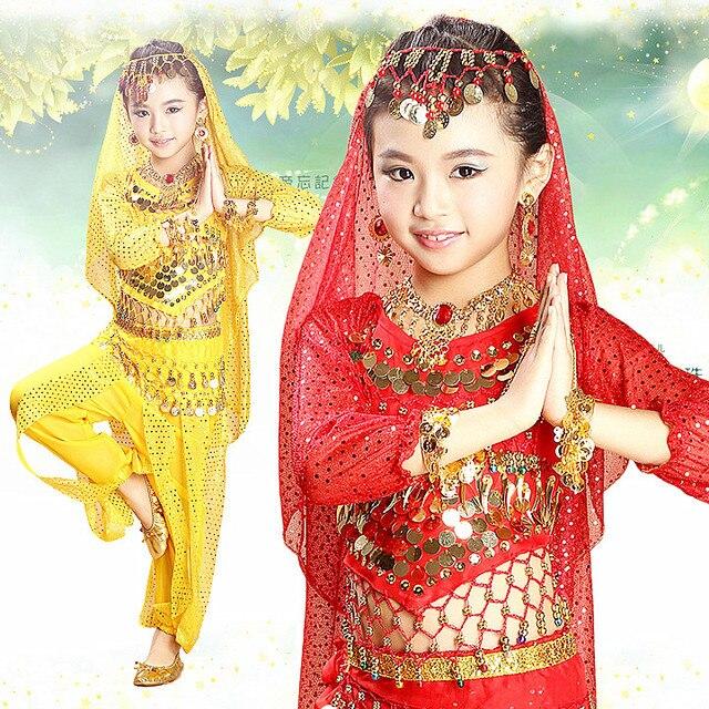 best sneakers d831a d20b7 US $11.89 15% OFF|Günstige bauch orientalischen indische kleidung kinder  bollywood kostüm set hosen top kind kind bollywood dance kostüme für kinder  ...