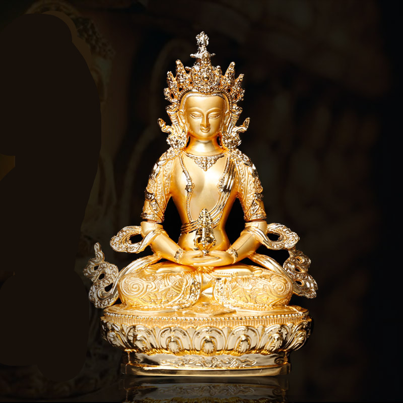 Longevity/Amitayus 5inch Efficacious Tranic Gold Buddha Alloy Metal Buddhist Suppliers Home/ Office Decorate Statue Craft