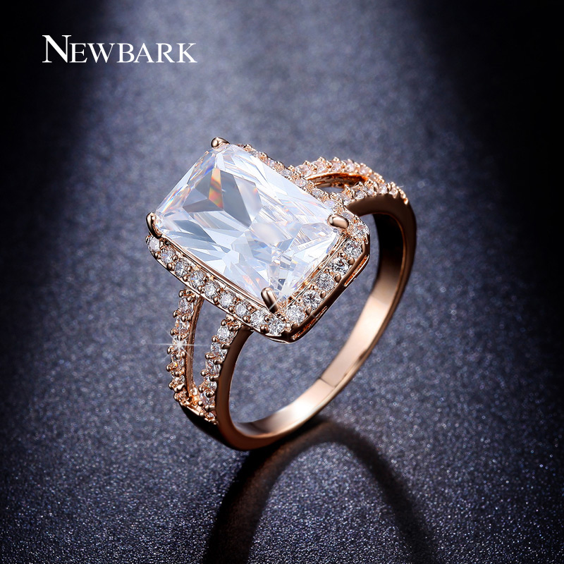 NEWBARK Women Engagement Rings Big Cut Cubic Zirconia Ring Jewelry CZ Paved White Gold Plated Wedding - Newbark Official Store store