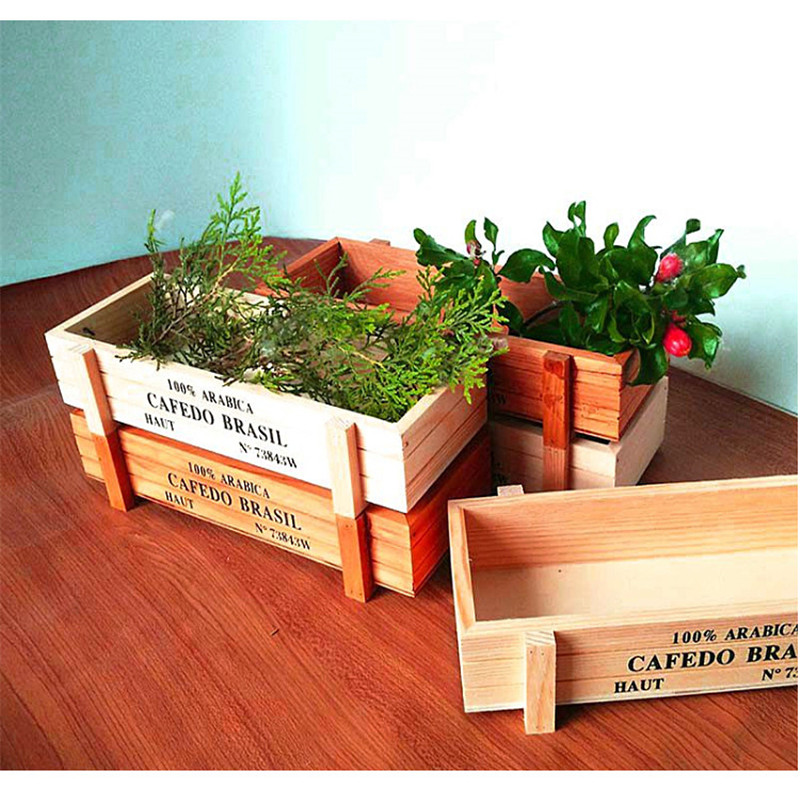 AliExpress & US $4.0 29% OFF|Vintage Wood Garden Flower Planter Succulent Pot Trough Rectangle Box Gifts Plant Office Home Hotel Decor Supplies Storage Box-in ...