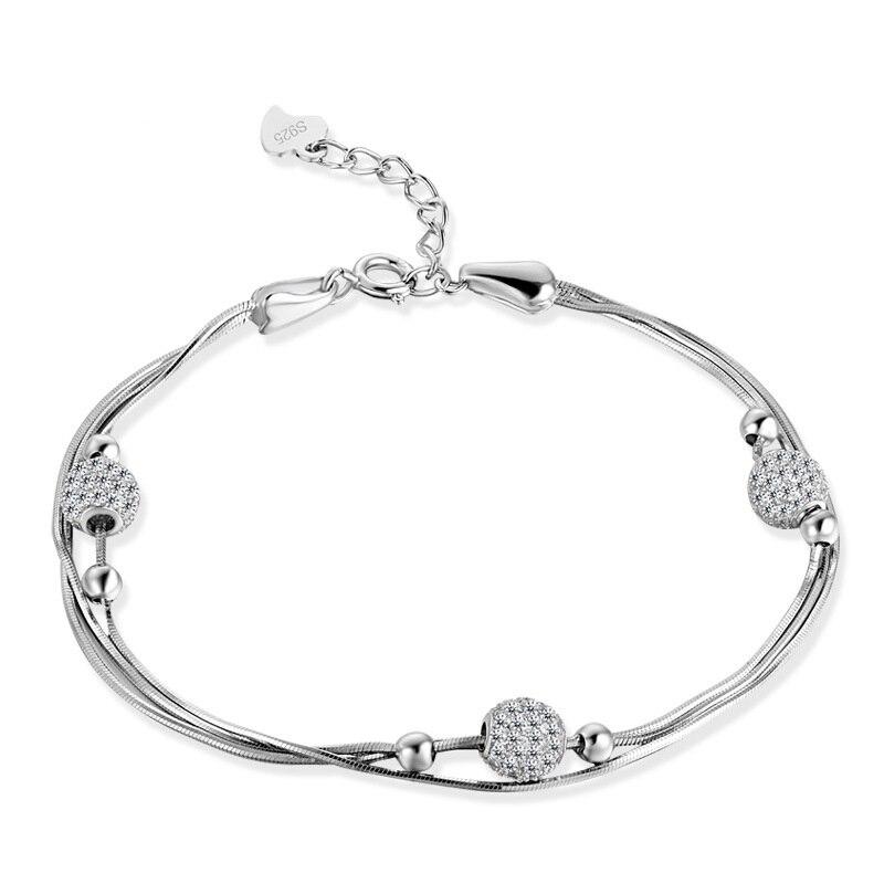 YJ0093 новые модные женские аксессуары ювелирные изделия женские Перламутровые Шарики многослойный Серебряный ювелирный браслет из чистого