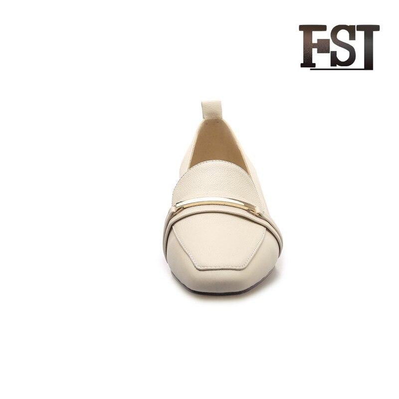 Carrière Neutre Robe Solide Printemps Couture Bureau automne Cuir Chaussures Fsj De Fsj02 Peau Véritable Sur Mouton Pompes Femme Vache Glissement fsj01 D'été En Décontracté CqFO17