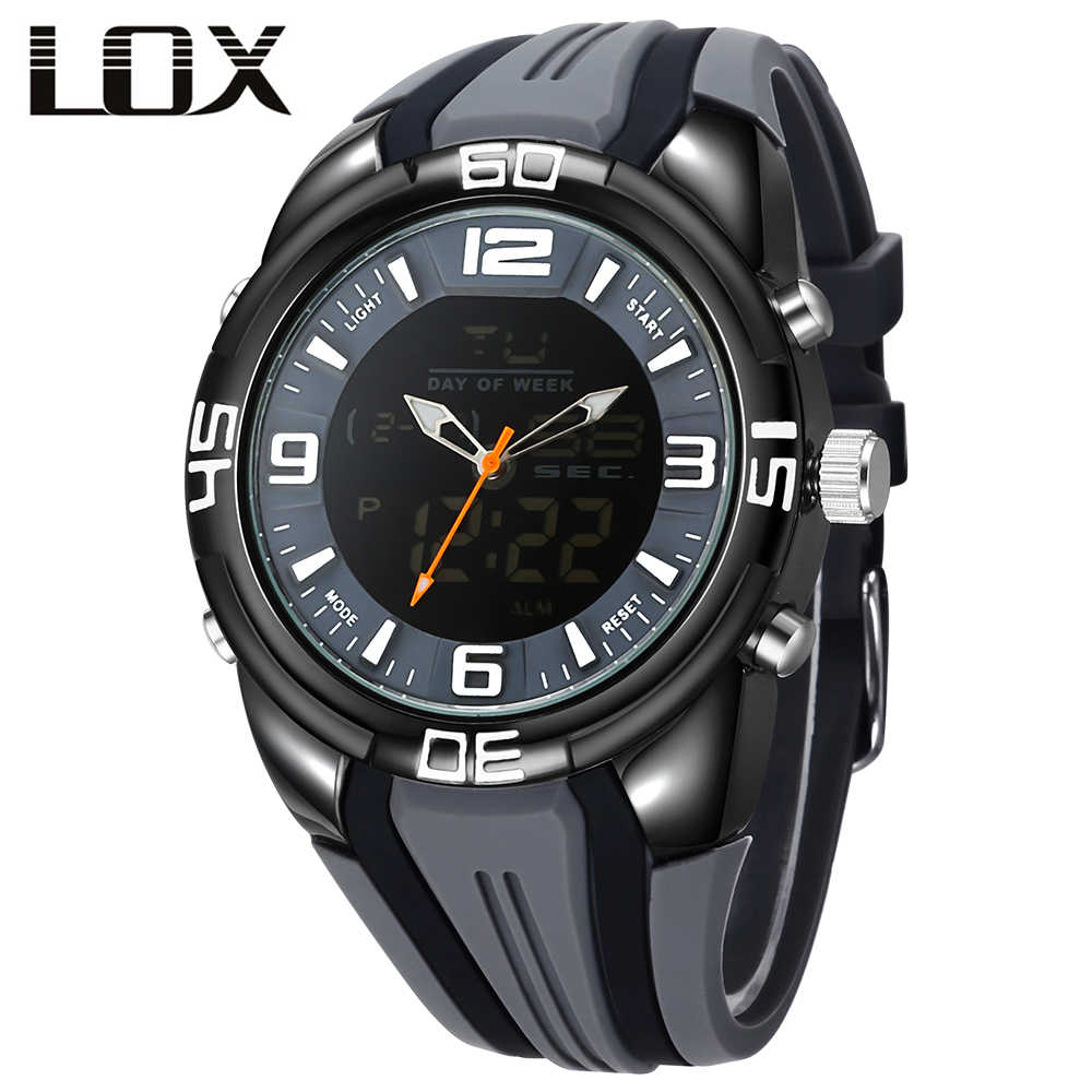 LOX Analog Digital Men Watches 2017 Luxury Brand Top Military Watch Alloy Silicone Reloj Deportivo Montre Homme Sport Horloge