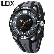 LOX Men Sports Analog Digital Multifunction Watch Dual Display Quartz Wristwatches Luxury Outdoor Fun Reloj Hombre Montre Homme
