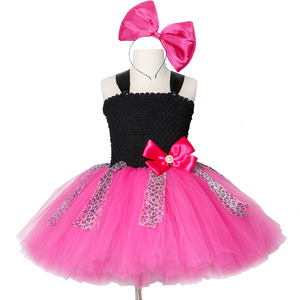 Lol Girls Tutu Dress Bow Leopard Cute Tulle Princess Birthday Party Dress Girl Kids Carnival Halloween Lol Dolls Cosplay Costume(China)