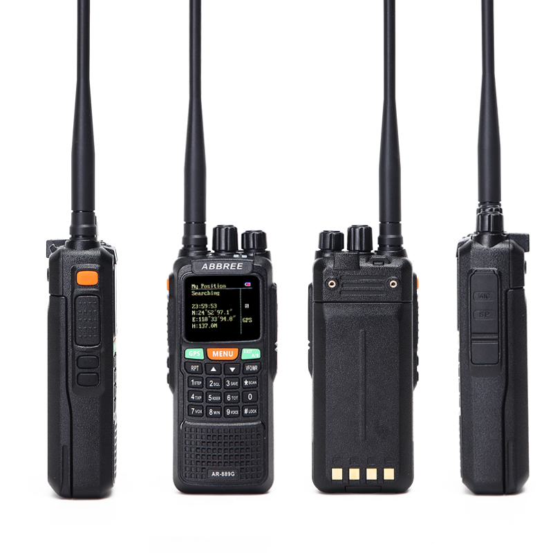 2Pcs ABBREE AR-889G Walkie Talkie GPS 10Watts 3000mAh battery Cross Band Repeater 999CH Dual Band Dual Receiving portable Radio