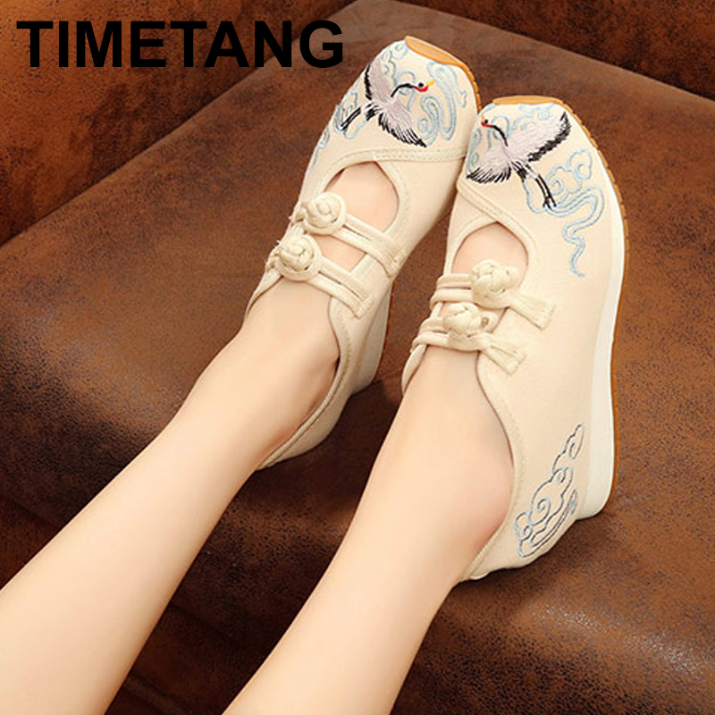 TIMETANGNew Crane Embroidered Women Casual Canvas Flat Platforms Retro Ladies Comfort Denim Cotton Embroidery Sneakers ShoesE222TIMETANGNew Crane Embroidered Women Casual Canvas Flat Platforms Retro Ladies Comfort Denim Cotton Embroidery Sneakers ShoesE222