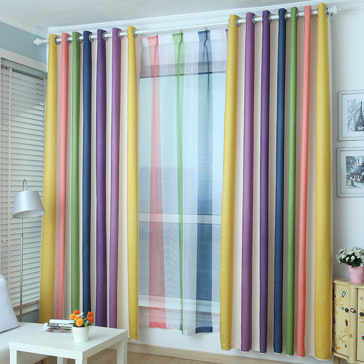 Rainbow striped curtains for living dining room bedroom for Curtains for kids room