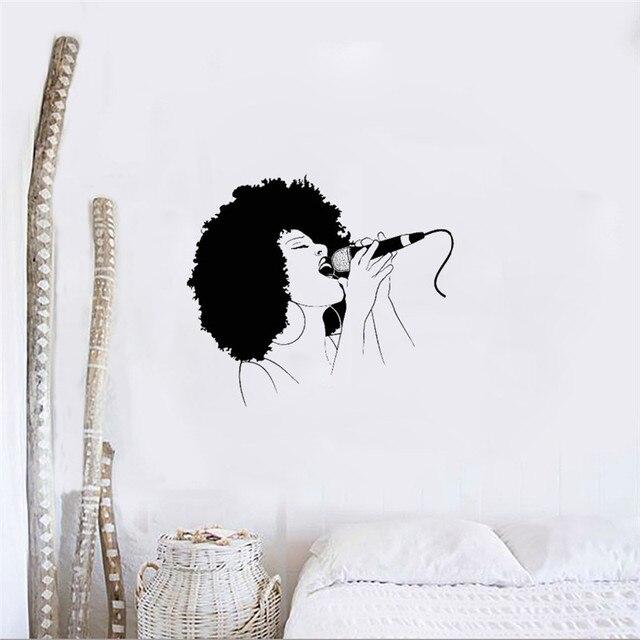 afro girl singing wall sticker vinyl girls room design music mural