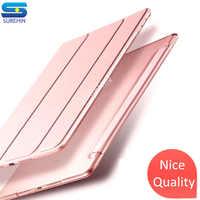 SUREHIN belle qualité étui en cuir intelligent pour apple iPad pro 12.9 housse 2017 an mince magnétique transparent dur dos manchon