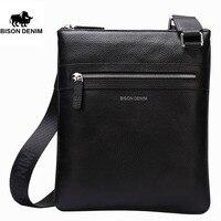 BISON DENIM fashion luxury men bag genuine leather one shoulder crossbody bags business male brand small messenger bag