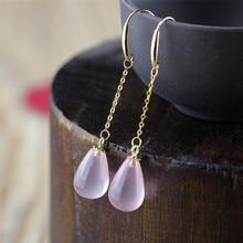 Gold Pink Crystal Jewelry Cute Waterdrop Shaped Drop Earrings For Women
