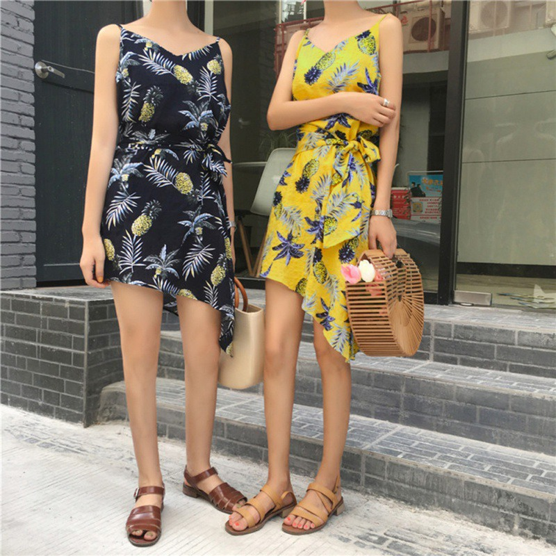 Bohemian Chiffon Summer Dress 2018 Sexy Women Pineapple Print Spaghetti Strap Irregular Boho Dress Beach Casual Dreesses T8