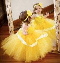 Filles Jaune Crochet Tutu Robe Bébé Moelleux Tulle Strap Robe De Bal avec la Fleur Bandeau Enfants Cosplay Vêtements Princesse Robe