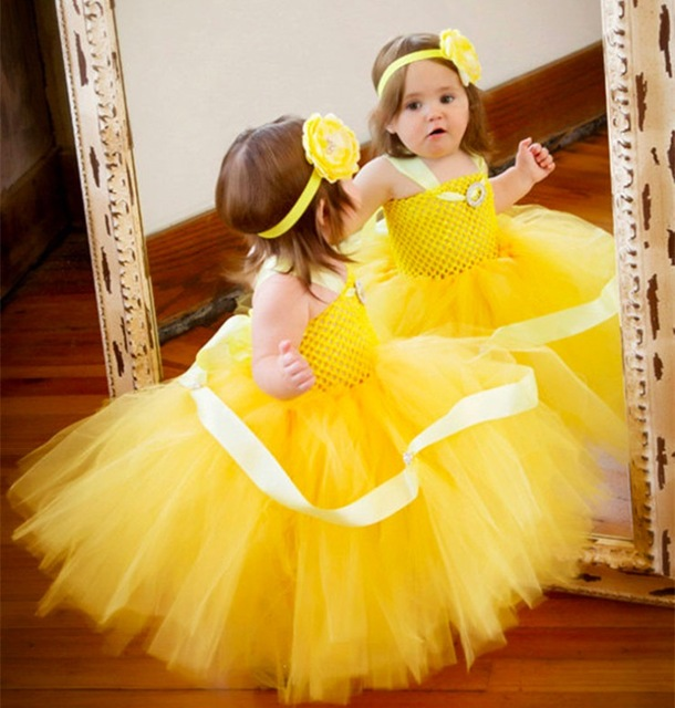 583983a474346 Girls Yellow Crochet Tutu Dress Baby Fluffy Tulle Strap Dress Ball Gown  with Flower Headband Kids Cosplay Clothes Princess Dress