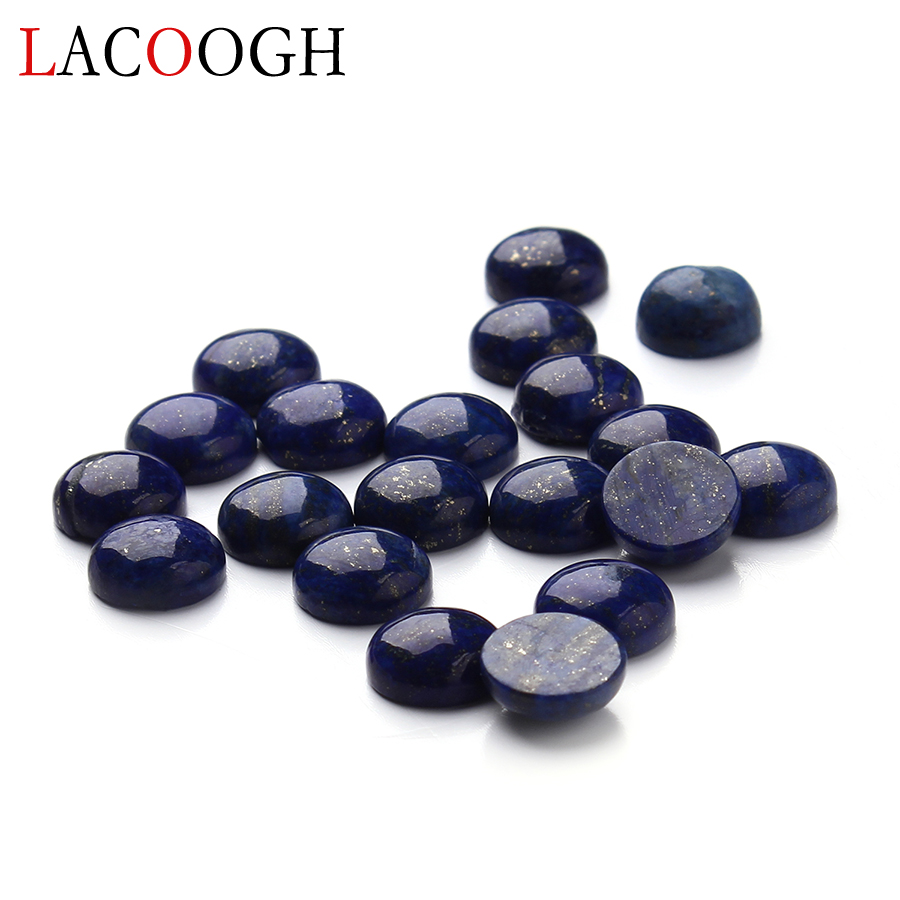 Wholesale 20pcs/lot Dia 4/6/8/10/12/14/16 mm Round Flat back Lapis Lazuli Stone Cabochons Beads for DIY Jewelry Making