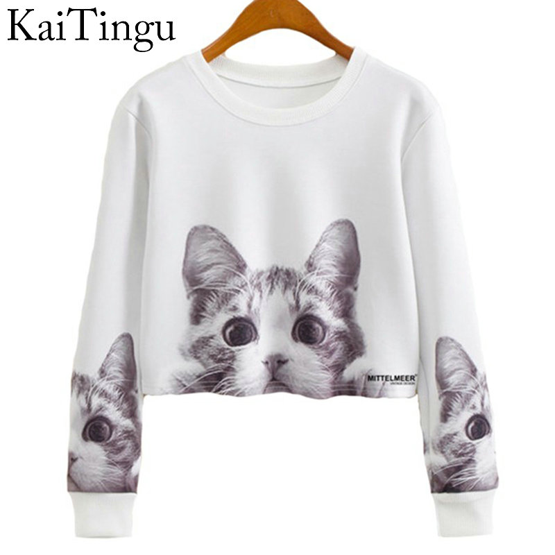 KaiTingu 2016 Autumn Women Casual Pullover Harajuku Fashion Crop Tops Round Neck Long Sleeve Ladies Cat