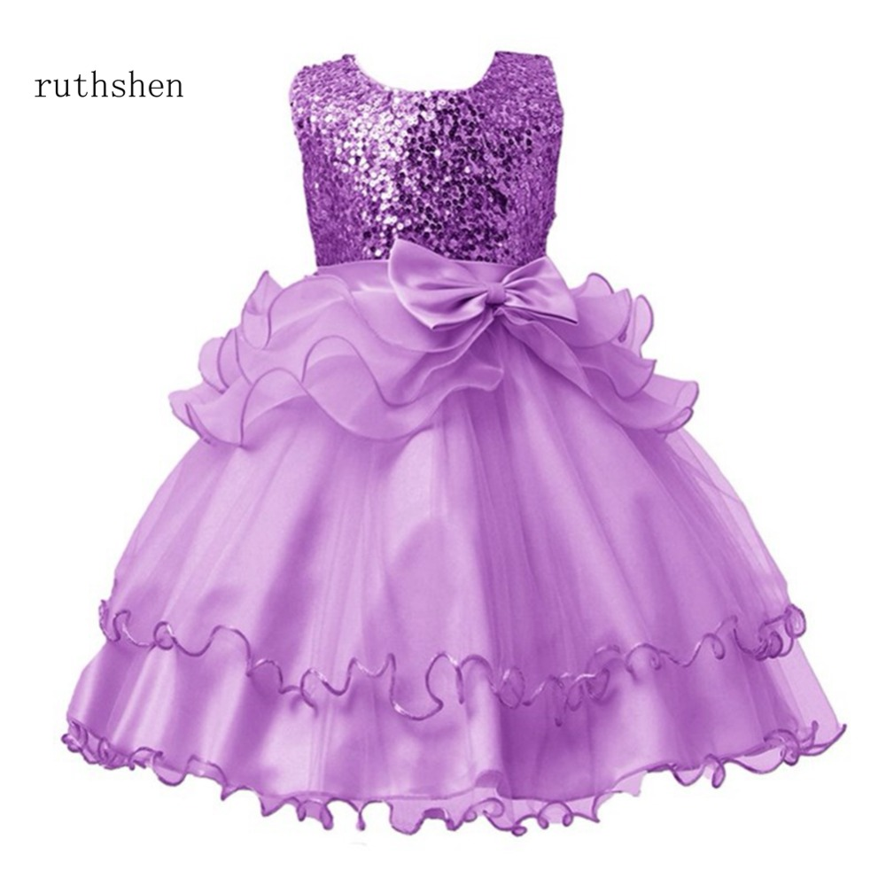 Ruthshen In Stock Flower Girl Dresses Bow Sequins Real Photo Gowns