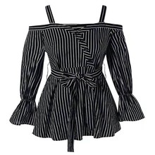 2019 New Women Fashion Tshirt Sexy Slash Neck All-match Striped Tops Women Lace-up Flare Long Sleeve T-shirts xiaying smile women maternity dress female fashion all match boat neck sexy loose embroidery striped short dresss long sleeve