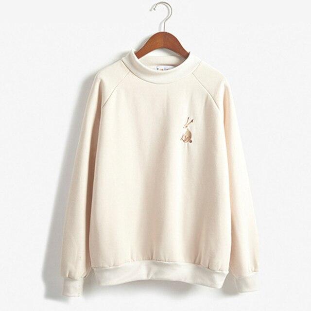 Autumn and winter women kawaii little bunny embroidery small high collar Long sleeve Plus velvet fleece sweatshirt  hedging