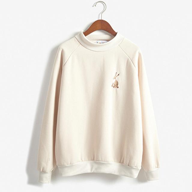 Outono e inverno as mulheres pequeno kawaii coelho bordado pequena gola alta manga Longa Além de veludo de lã camisola hedging
