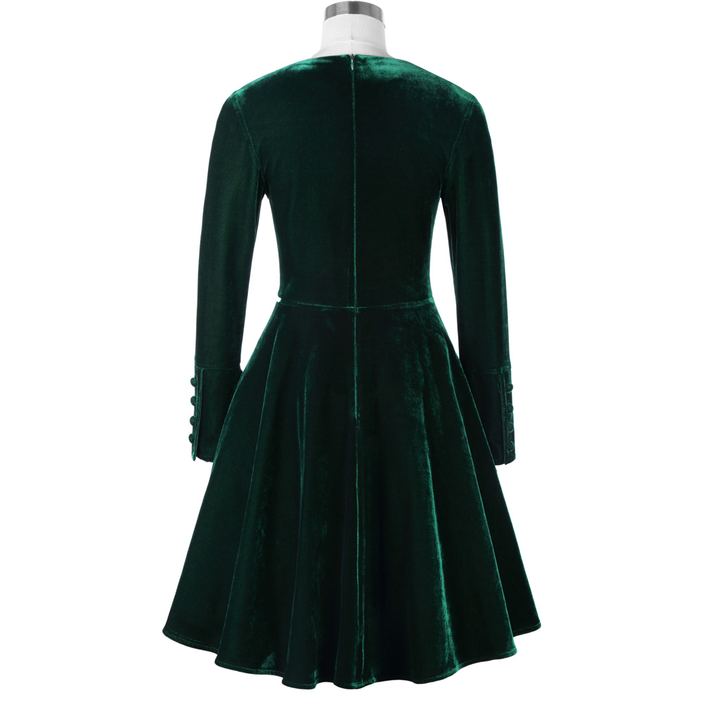 Belle Poque Fashion Women Dresses Office Green Vintage Tunic Female Vestidos Autumn Winter Long Sleeve Casual Velvet Swing Dress 7