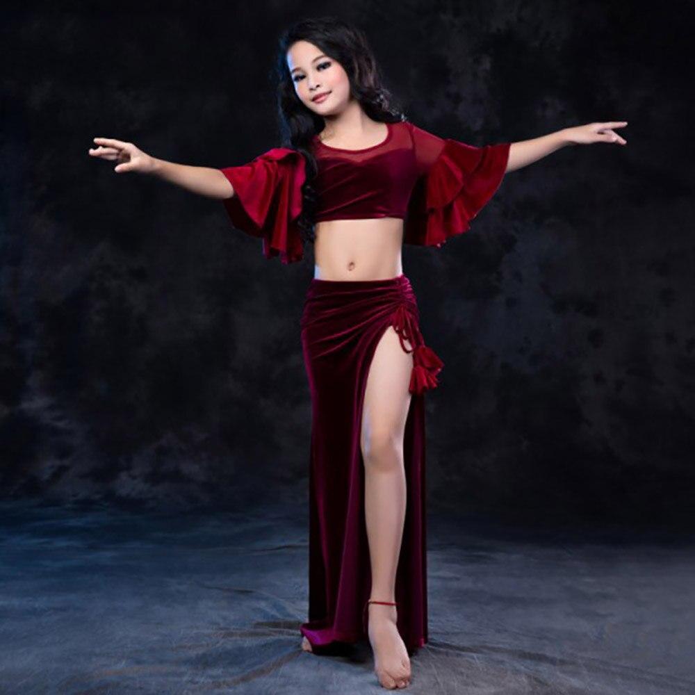 Offre spéciale Costume de danse du ventre pour fille Rose rouge Costume bordeaux enfants écolier professionnel Rumba Tango hauts + jupe ensemble N6017