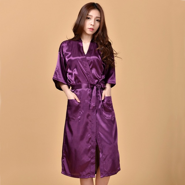 New Arrival Purple Sexy Women's Rayon Robe Sleepwear Long Kimono Bathrobe Gown Sexy Nightgown Oversize S M L XL XXL XXXL NB027