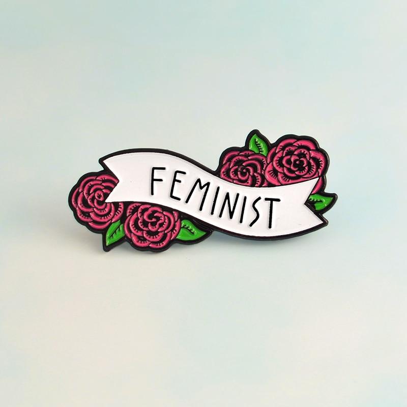 Féminisme libéralisme rouge Rose Floral féministe broches insignes broches émail épinglette sac à dos sac accessoires cadeau pour femmes filles