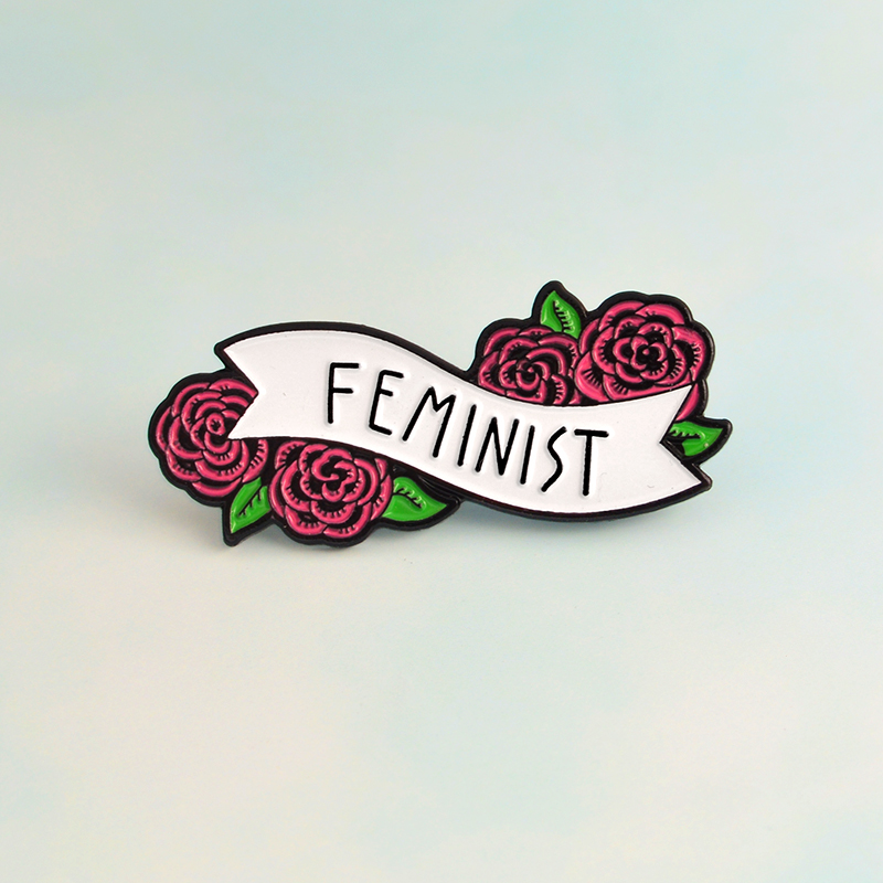 Feminismo liberalismo rosa vermelha floral feminista pinos emblemas broches esmalte lapela pino mochila saco acessórios presente para meninas