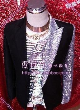S-XXL Men's mosaic sequin suit Stage male singer DJ personality suit Rock and roll men's clothing plus size