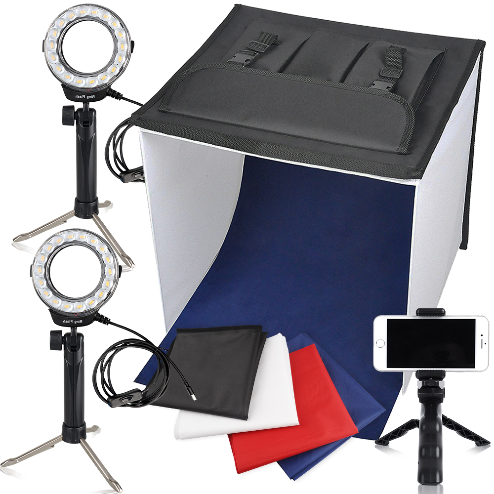 Travor Photo Box Photography Studio Lighting Light Box Studio LED Light Tent Kit In A Light Box With Mini Tripod Cell Phone Clip