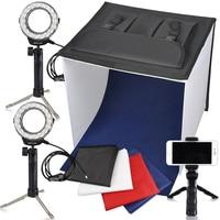 Travor Photo Box Photography Studio Lighting Light Box Studio LED Light Tent Kit in a light box with mini tripod cell phone clip