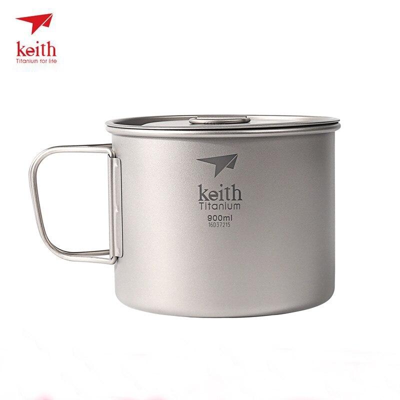 Keith 900 ml Tasse Titane Tasse D'eau Portable En Plein Air Camping Randonnée Voyage Vaisselle Titane Pot Avec Couvercle Pliable Poignée Ti3209