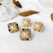 цены на Square retro geometric earrings artificial rhinestone earrings Korea temperament Joker earrings fashion simple  stud earrings  в интернет-магазинах