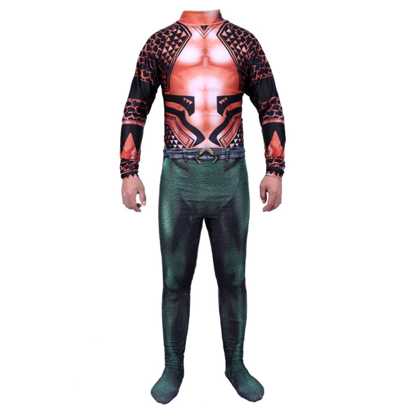movie Aquaman Cosplay Costume Zentai Suit 3D Print green Jumpsuit Aquaman Skin Role Play T-shirt Party Halloween Costume For Men