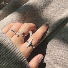 AOMU Япония Корея минималистичные металлические геометрические кольца для женщин Открытие Регулируемый Имитация Жемчуга Кольцо Модный Ювелирный Набор
