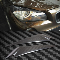 Carbon Fiber Headlight Cover Eyebrows Eyelid Trim Sticker For BMW X1 E84
