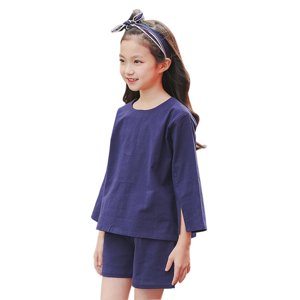 B-S48 New Fashion Summer Girls Casual Set 8-14T Kid Teenager Solid Color Set Kids Short Sleeve T-shirt+Pants 2pcs Outfit Suit women s stunning solid color t shirt and pleated spaghetti straps dress set