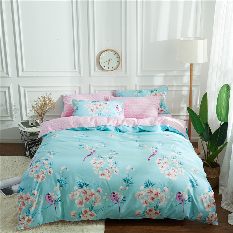 Home textile 100%cotton blue flower bedding sets duvet cover pink bed flat shee AB side bedding twin queen king size girl/adult Home textile 100%cotton blue flower bedding sets duvet cover pink bed flat shee AB side bedding twin queen king size girl/adult