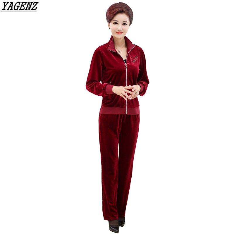 Tracksuit 4xl Women piece Spring dark cyan K270 Two Autumn Long Clothes Trousers Suit Purple Jacket Size Velvet Mother Plus Sleeve Red purple Yagenz pprwxnZC