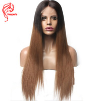 Hesperis Ombre Full Lace Human Hair Wigs For Black Women Silk Straight 1B/30 Two Tone Lace Wigs Pre Plucked Full Lace Wigs